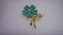 Vintage Sarah Coventry Aqua Fleur Silvertone Pin Brooch with Faux Turquo... - $14.00