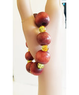 brown chunky wood and glass bead  bracelet, stretch hippie bracelet, han... - $5.99
