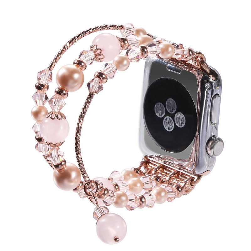 Women-Watch-Band-For-Apple-Watch-38mm-42mm-Fashion-Natural-Stone-Rose-Beads-Brac