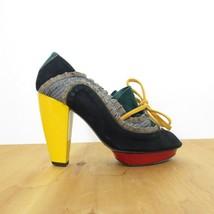 37 /6.5 - Kron by KronKron Anthropologie Colorblock Unique Platform Heels 0425GN - $115.00