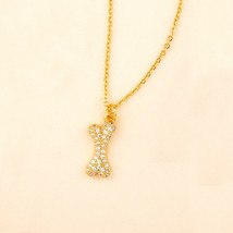 Gold Tone over 925 Silver CZ Dog Bone Chain Necklace, 18' - $11.75