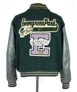 Vtg Varsity Jacket Bomber Coat Green Wool & Gray Leather Band Letterman ... - $34.64