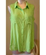 KC Khakis & Co. Lime Green Size M Sleeveless Buttono Down Blouse Pocket... - $12.99