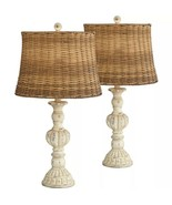 Cottage Table Lamps Set of 2 Antique White Candlestick Rattan Tapered Dr... - $399.00