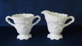"Fenton, Creamer & Sugar, ""Rose"" in Milk Glass, No. 9203, circa 1967-73 - $14.00"