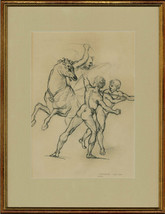 After Raphael - Framed Contemporary Charcoal Drawing, A Warrior Fighting - $95.05