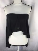 Express Women Black  Blouse Flat straight neckline Back Zipper Ruffle M - $16.83