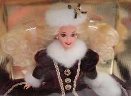 Barbie Christmas Happy Holidays 1996 Burgundy Coat and Fur Muff Special ... - $14.84