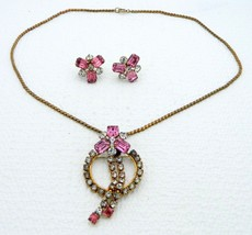 VTG SCITARELLI Pink Clear Rhinestone Necklace Pendant Pin Earring Set - $29.70