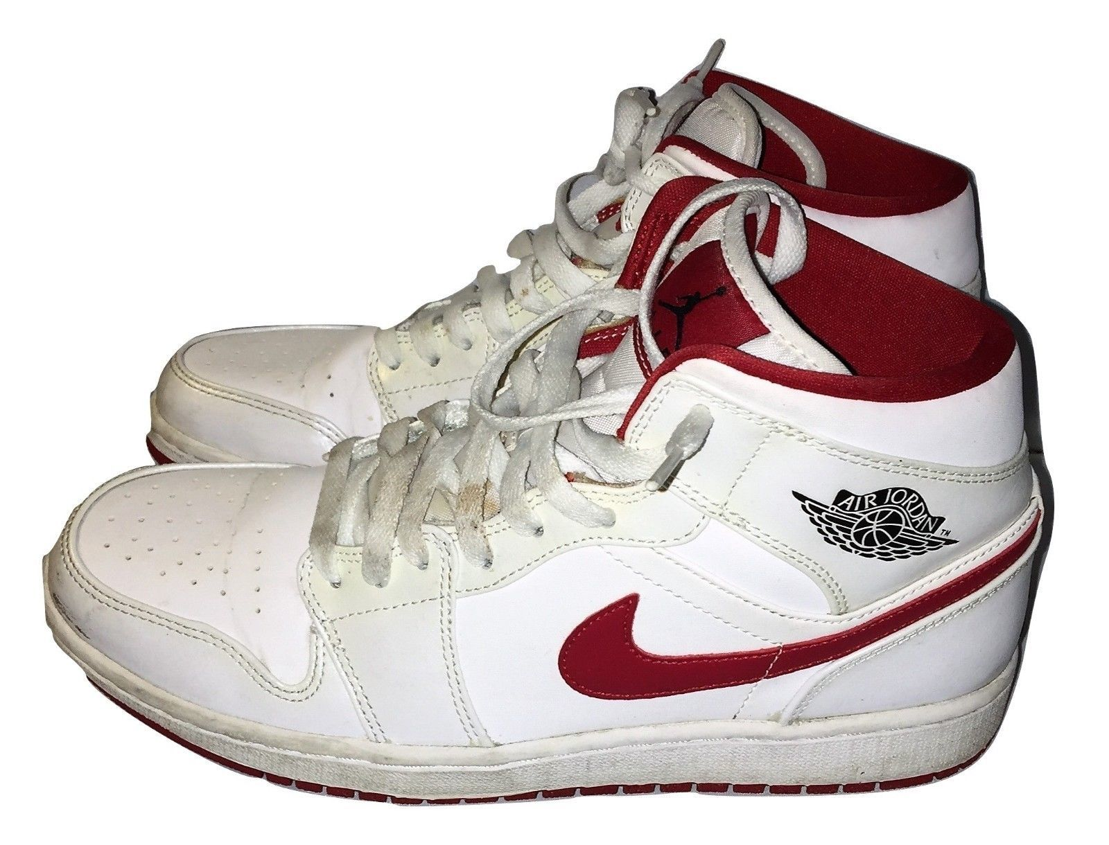 95f8df085bb7 Air Jordan 1 Mid White Gym Red 554724 101 Basketball Shoes Sneakers 10 US  44 EU