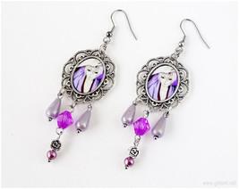 Kamisama Hajimemashita Tomoe Chandelier Earrings, Antique Silver, Purple... - $18.00