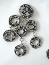 Vintage 80's HUGE Statement Earrings Black Grey / Silver Molten Chandeli... - $24.74