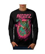 Shooting Laser Cool Cat Tee  Men Long Sleeve T-shirt - $14.99
