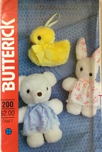 Butterick 200 or 423 Stuffed Animals & Clothes  Duck, Bunny or Bear - $8.49