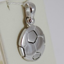 SOLID 18K WHITE GOLD SOCCER BALL PENDANT, SATIN CHARMS, FOOTBALL, MADE IN ITALY image 2