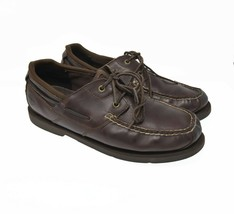 Timberland Men's Sz 11 EU 45 Brown Leather Lace Up Moc Toe Comfort Boat Loafer - $34.99