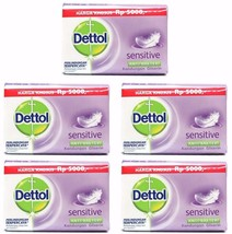 5 X Dettol SENSITIVE Anti-Bacterial Hygiene Hand and Body Bar Soap 105g ... - $12.49
