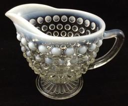 Vtg Hobnail Moonstone Clear Creamer Footed Pitcher Depression Glass A Ho... - $19.74