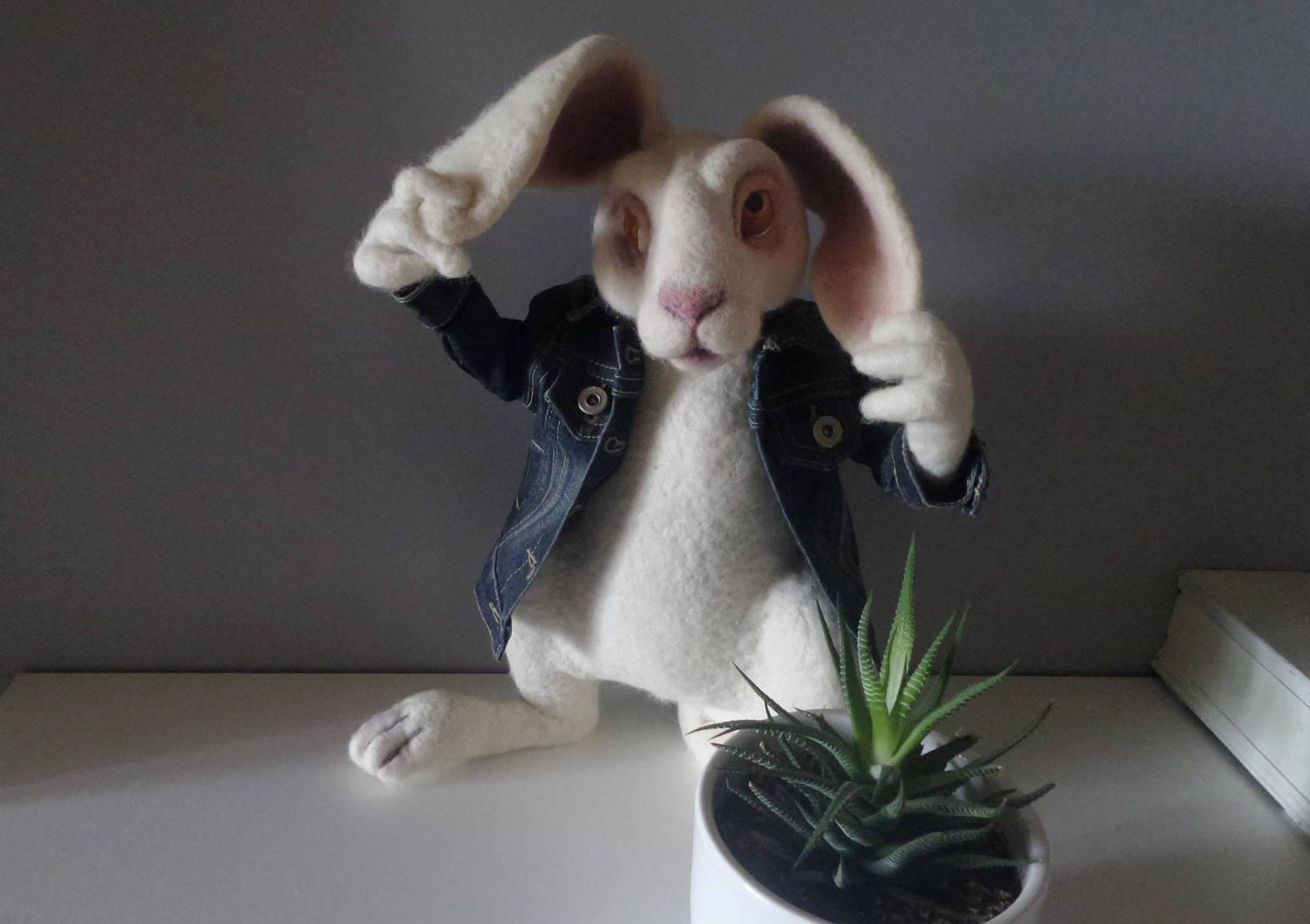 White Rabbit Felt art doll Alice in Wonderland sculpture Custom needle felt bunn