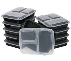 3 Compartment Food Container Lid Divided Plate Bent Microwave Safe Lunch... - $32.76