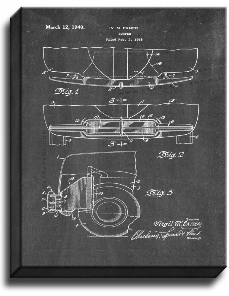 Primary image for Car Bumper Patent Print Chalkboard on Canvas