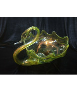 Vintage 1960's Green Hand-Blown Glass Swan Decorative  Bowl Murano Glass... - $14.00
