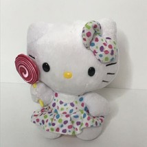 "TY Hello Kitty Beanie Plush Stuffed Animal Sanrio Lollipop Polka Dots 6""... - $15.75"
