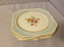 Homer Laughlin Salad Plates Square Eggshell Georgian Robin Egg Blue Chin... - $102.29