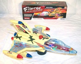 BUMP AND GO LIGHT UP FLASHING MILITARY JET PLANE battery operated toy AI... - $11.72