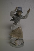 """Zaphir By Lladro """"Careless Maiden"""" 9 1/4"""" Tall Girl With Dropped Hat Box 1982 - $49.49"""