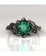 Engagement Ring Black Gold Ring Emerald Leaf Ring Lotus Flower Engagemen... - £69.98 GBP