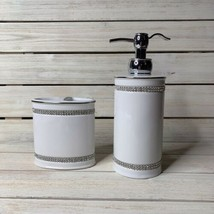 New Bella Lux Rhinestone Crystal White Soap Pump Dispenser & Toothbrush ... - $74.24