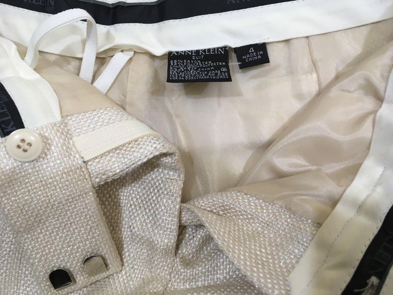 M18 ANNE KLIEN Casual Sparkle  White Casual Suit Pants WOMEN'S 4