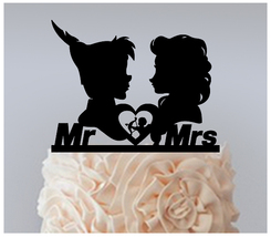Wedding Cake topper,Cupcake topper,silhouette peter pan and elsa Package... - $20.00