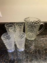 Indiana Whitehall Colony Cubist Cube Clear Glass Tea Pitcher W/ 5 Tumblers - $50.00