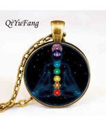 drop shipping Chakra Tag Silver reiki Glass stone healing Yoga Tags pend... - $9.92