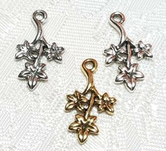 FLOWERS ON VINE FINE PEWTER PENDANT CHARM - 10x18x2mm