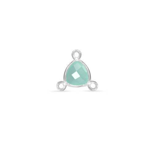 Primary image for Bezel Y Connector,  Aqua Chalcedony,  Sterling Silver, 7mm, Pkg Of 1pc (9462)/1