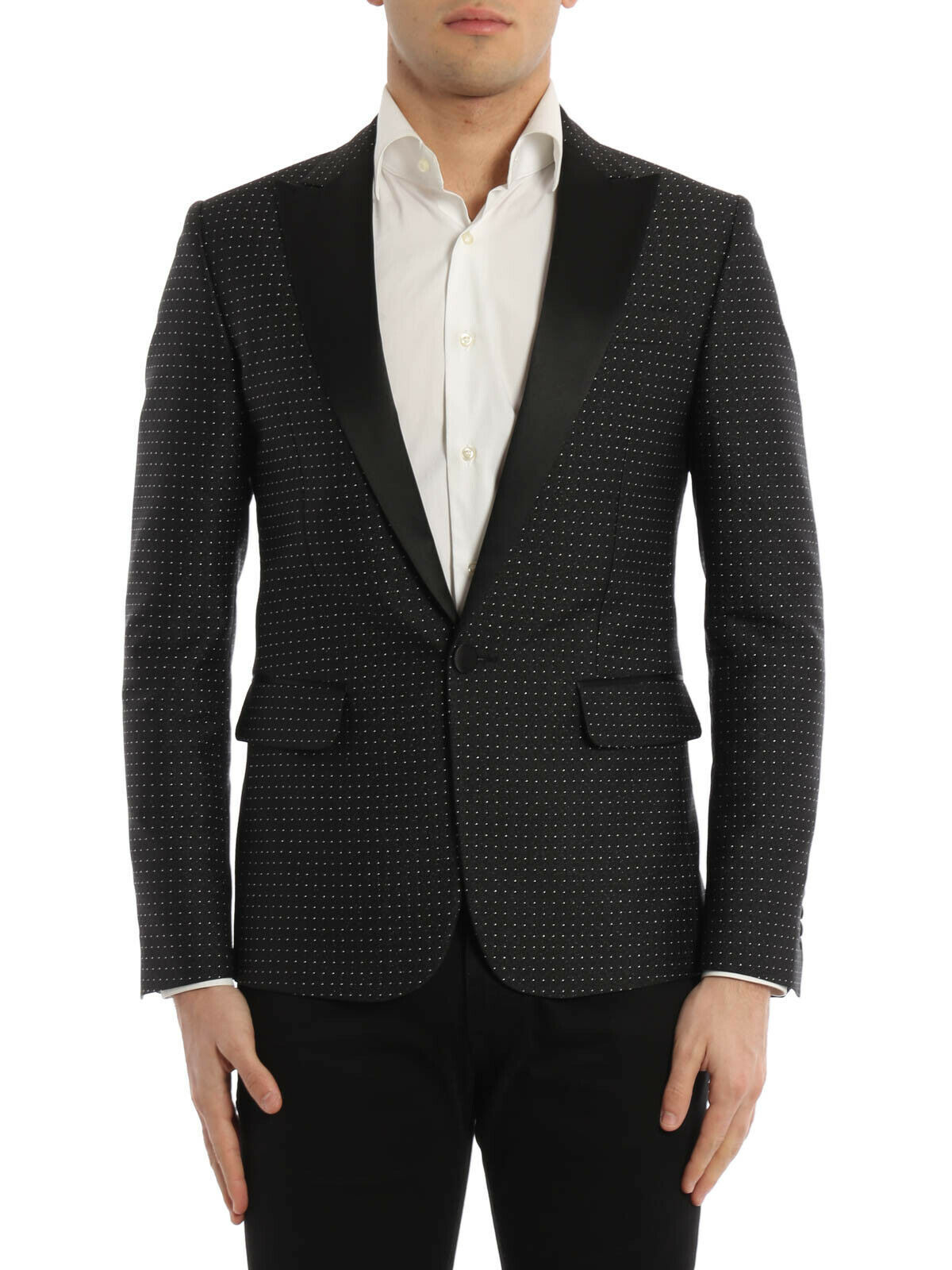 Primary image for $1980 Dsquared2 Micro Patterned Dot Tuxedo Blazer Black  Size  50 IT