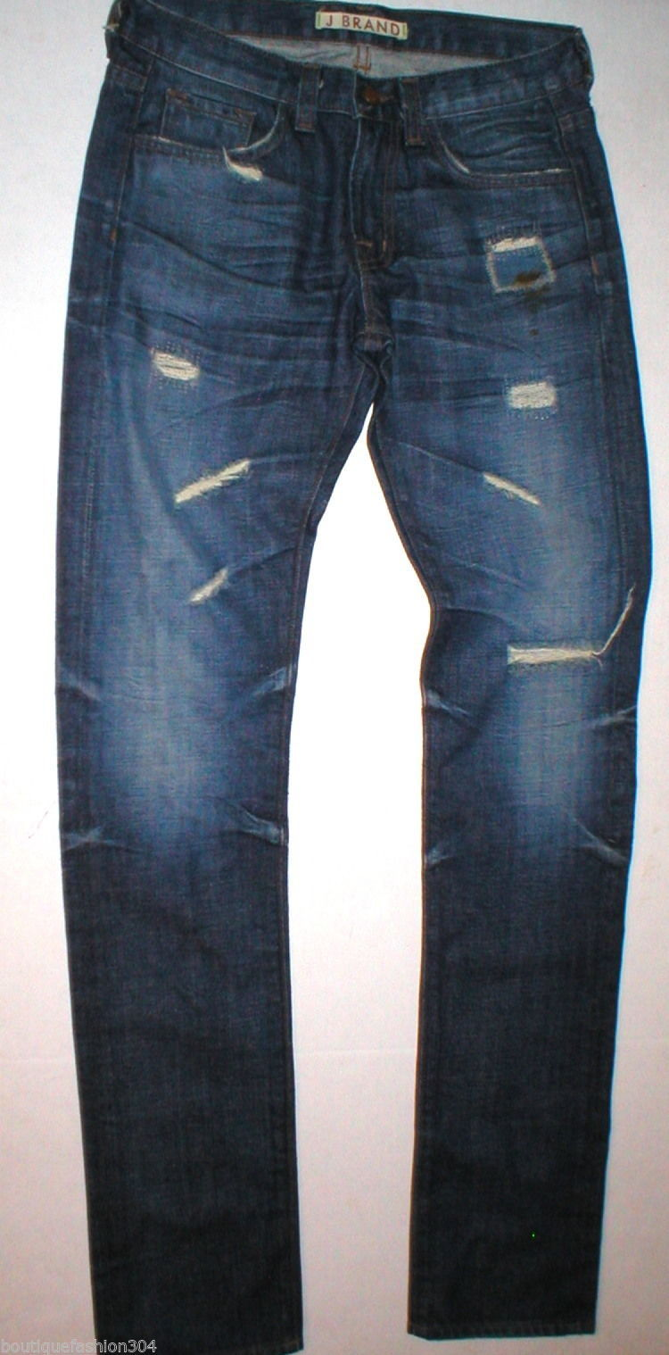Destroy J Brand Jeans New 25 Distressed Tall 27 X 35 Womens Skinny Straight Dark