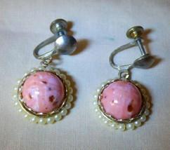 Vintage 1950s EARRINGS Faux Pink Coral & Pearl Dangle Screwbacks LOVELY - $12.00