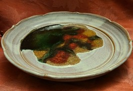 """Vintage Heavy Hand Thrown Glazed Clay Platter Plate Signed 12"""" x 12"""" x 1 3/4"""""""