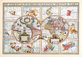1615 Double Hemispherical Map Of The World Zodiac Signs Astrology Wall P... - £9.64 GBP+