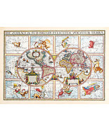 1615 Double Hemispherical Map Of The World Zodiac Signs Astrology Wall P... - $13.00+