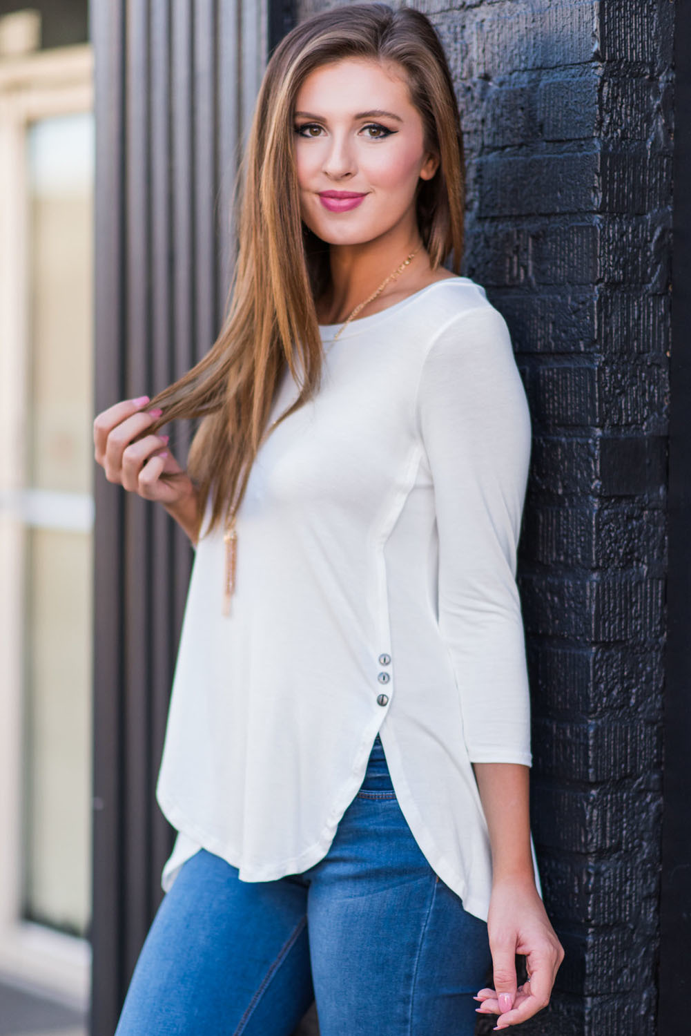 White Button Slit Detail Long Sleeve Blouse
