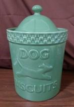 Longaberger Pottery USA GREEN MULLIGAN DOG BONE BISCUIT TREAT JAR - $89.95
