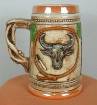 Texas 16 fl oz handmade beer stein molded features of Texas Cowboy Map S... - $5.52