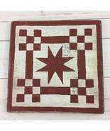 Signed Folk Art Stars Checks Rustic Red Wood Plaque Primitive Handmade D... - $13.56