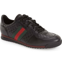 GUCCI Men's Low Profile SL 73 Sneakers Web Black Leather Shoe 8.5 Uk- 9.... - $369.00