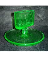 Vintage Green Depression Vaseline Glass Cigarette Holder Ashtray, 1930s ... - $48.90